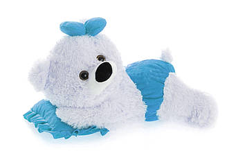 Алина плюшевая мишка малышка 45 см белый с голубым