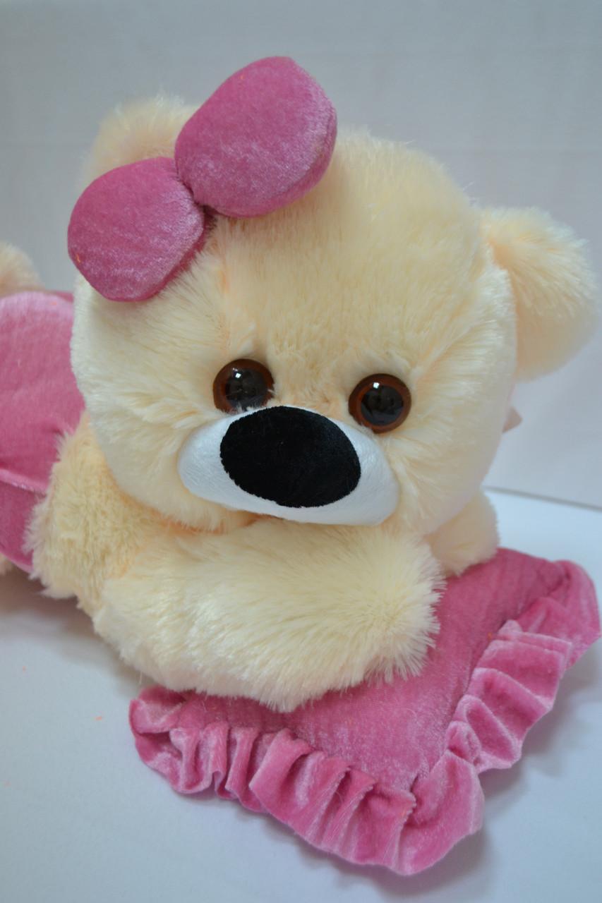 Плюшевая мишка Малышка персиковая с розовым