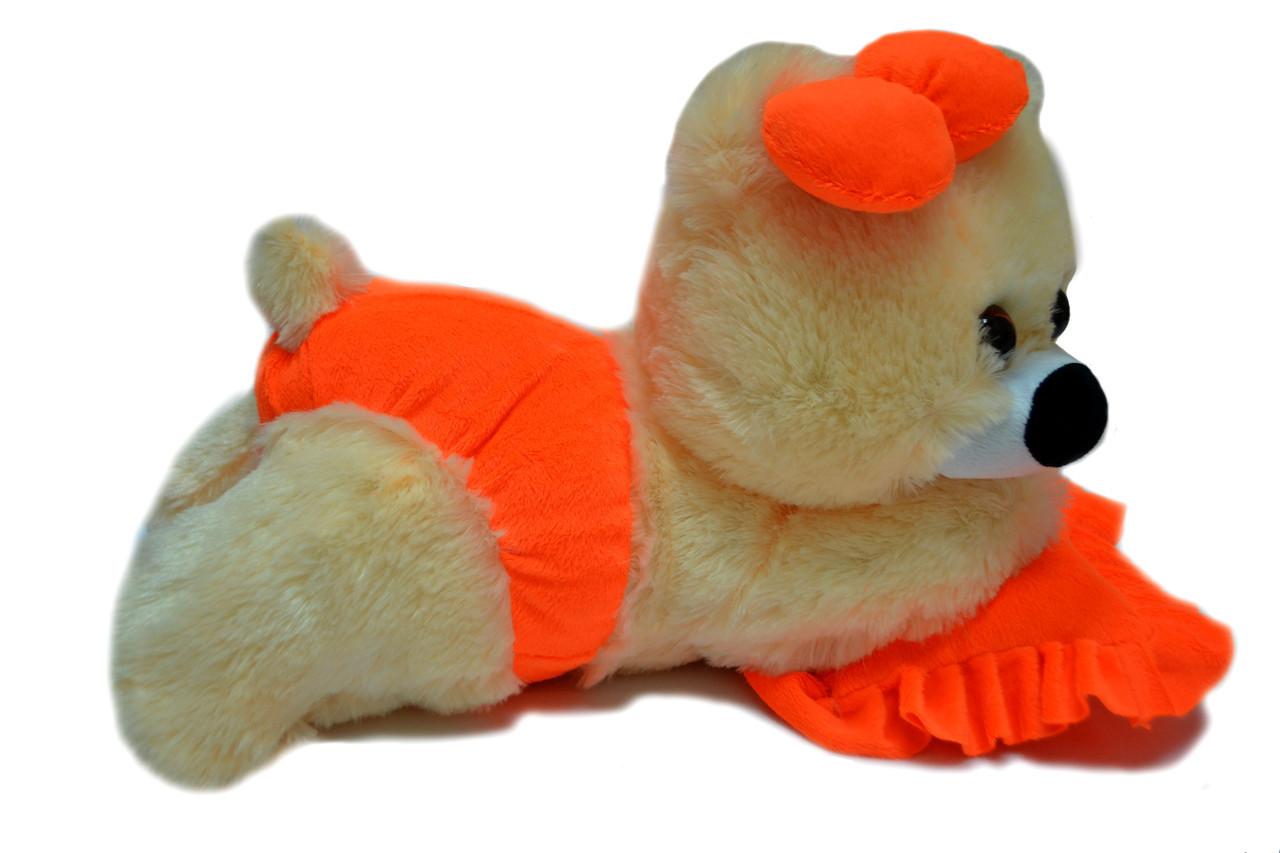 Алина Плюшевая мишка Малышка 45 см персиковая с оранжевым