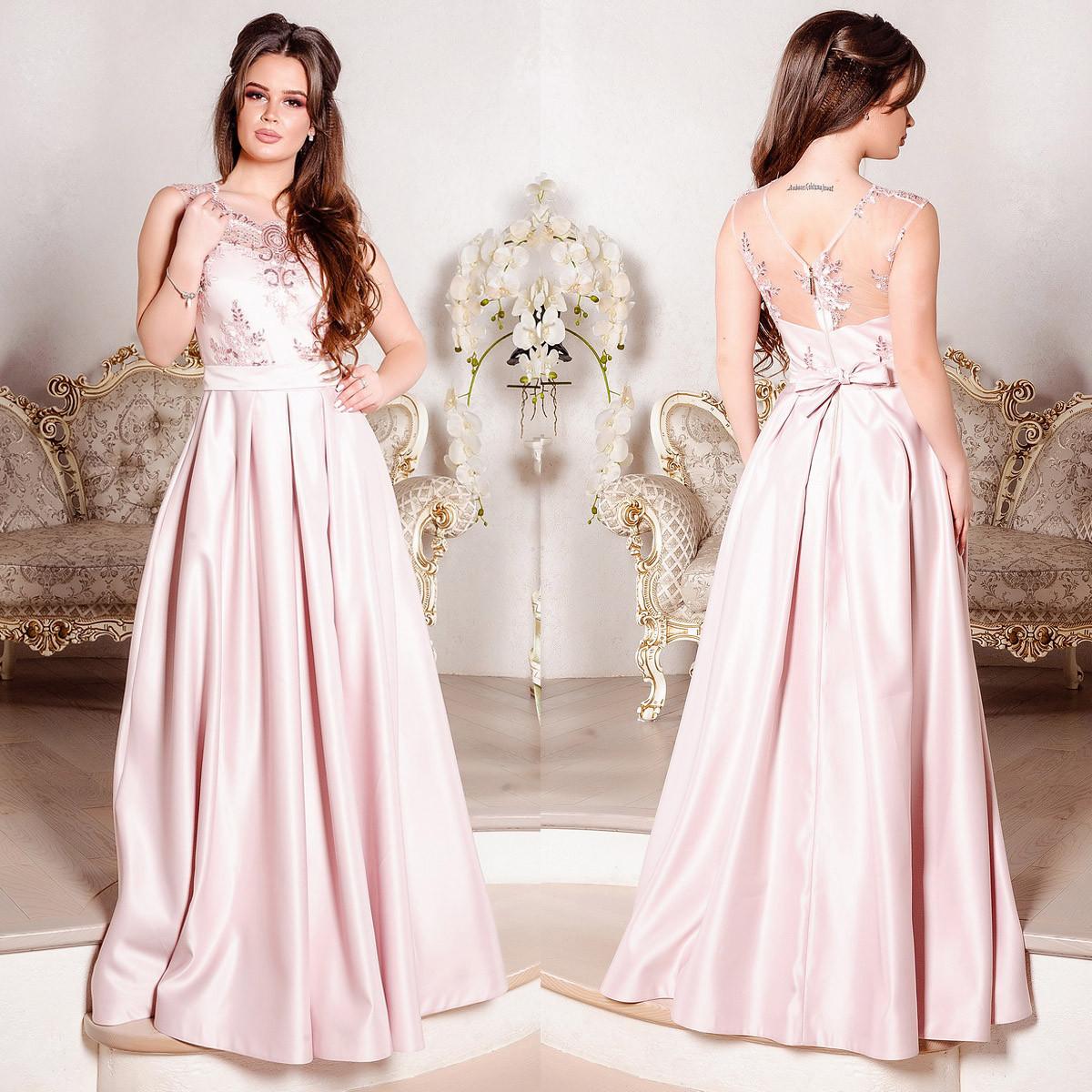 """Розовое вечернее, выпускное длинное платье атлас """"Венера"""""""