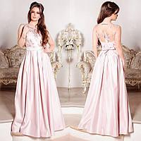 """Розовое вечернее, выпускное длинное платье атлас """"Венера"""", фото 1"""
