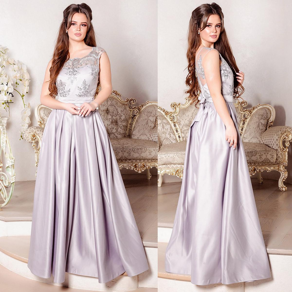 """Атласное длинное платье вечернее серебро """"Венера"""""""