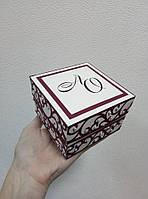 """Коробочка для весільного подарунку/грошей 100*100*60 мм """"МАРСАЛОВИЙ АЖУР"""", фото 1"""