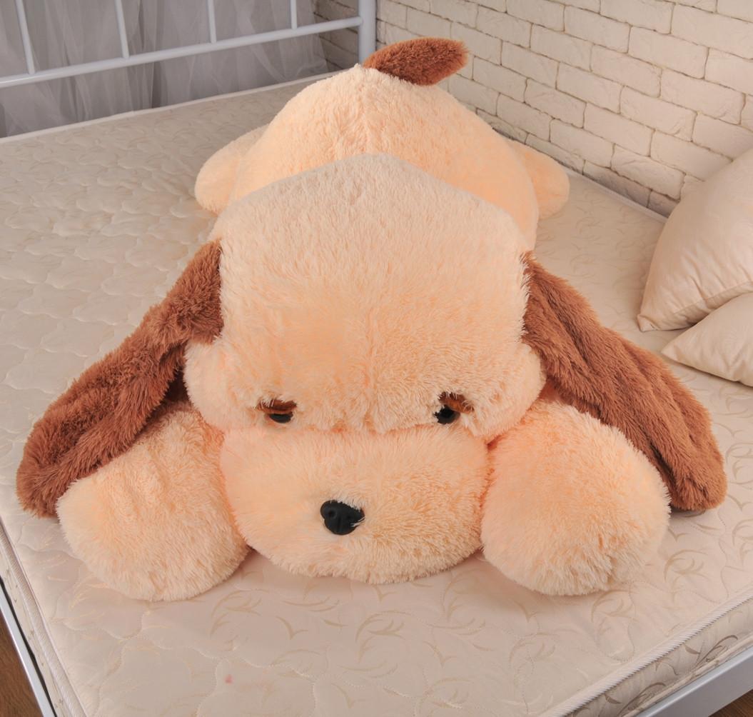 Большая игрушка собака Алина Тузик 140 см персиковый