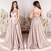 """Бежевое элегантное вечернее платье размер S """"Венера"""""""