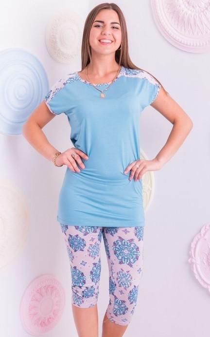 Домашній комплект жіночий довга футболка і лосини піжама віскоза домашня одяг Україна