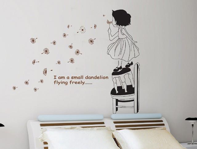 Інтер'єрна наклейка на стіну Дівчинка з кульбабою (ay715a)