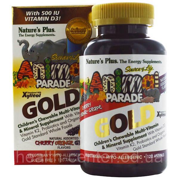Animal Parade Gold Мультивитамины для детей 120 животных (вишня апельсин виноград) Nature's PlusUSA