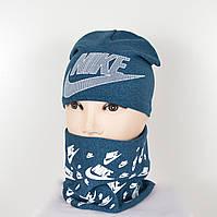 Комплект меланж Nike (шапка+хомут), фото 1