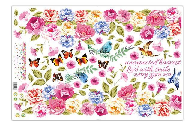 Интерьерная наклейка на стену Цветы в ряд XL8202, фото 2