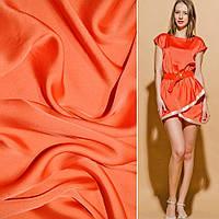 Атласная ткань шелк японский оранжево красная атлас