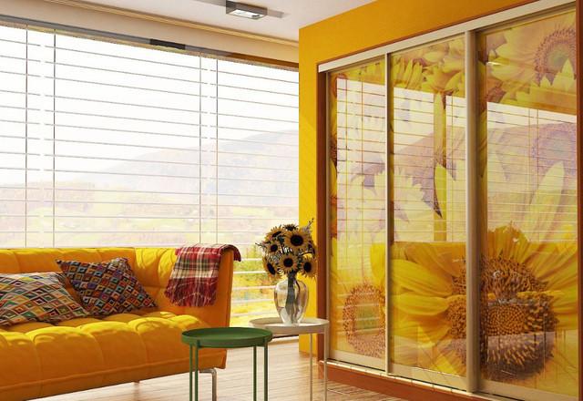 Шкаф-купе 3-ух дверный (фотопечать,Цветы 30-001)