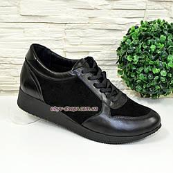 Стильные черные женские туфли-кроссовки на шнуровке