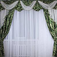 """Комплект ламбрекен  со шторами  из ткани """"Блэкаут"""" Код 068лш127(А)"""