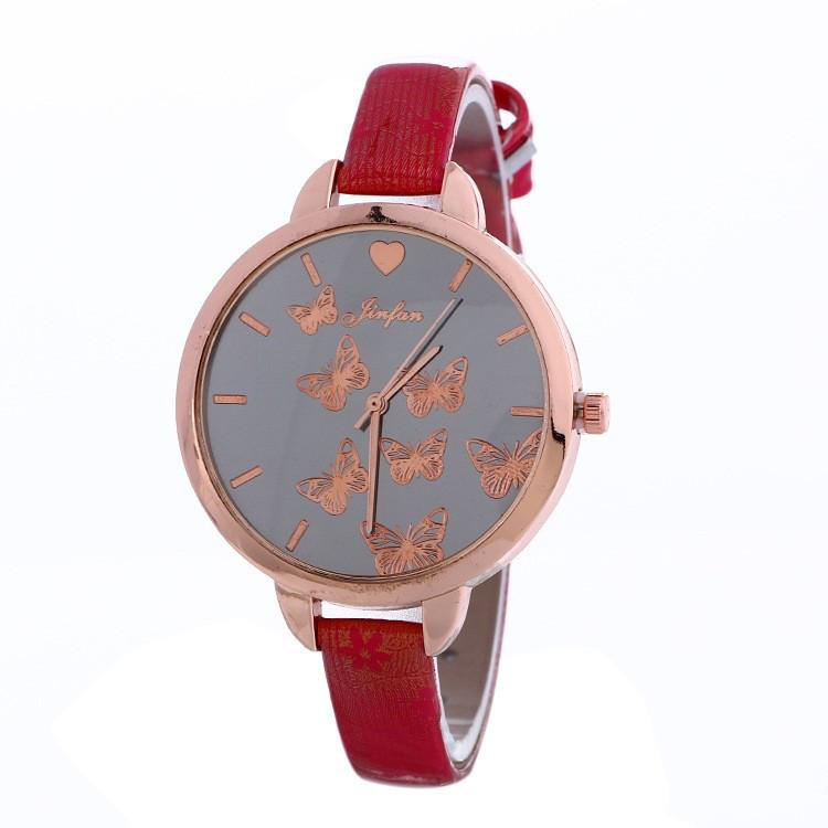 Часы Женева Geneva тонкий ремешок бабочки Красные 086-4