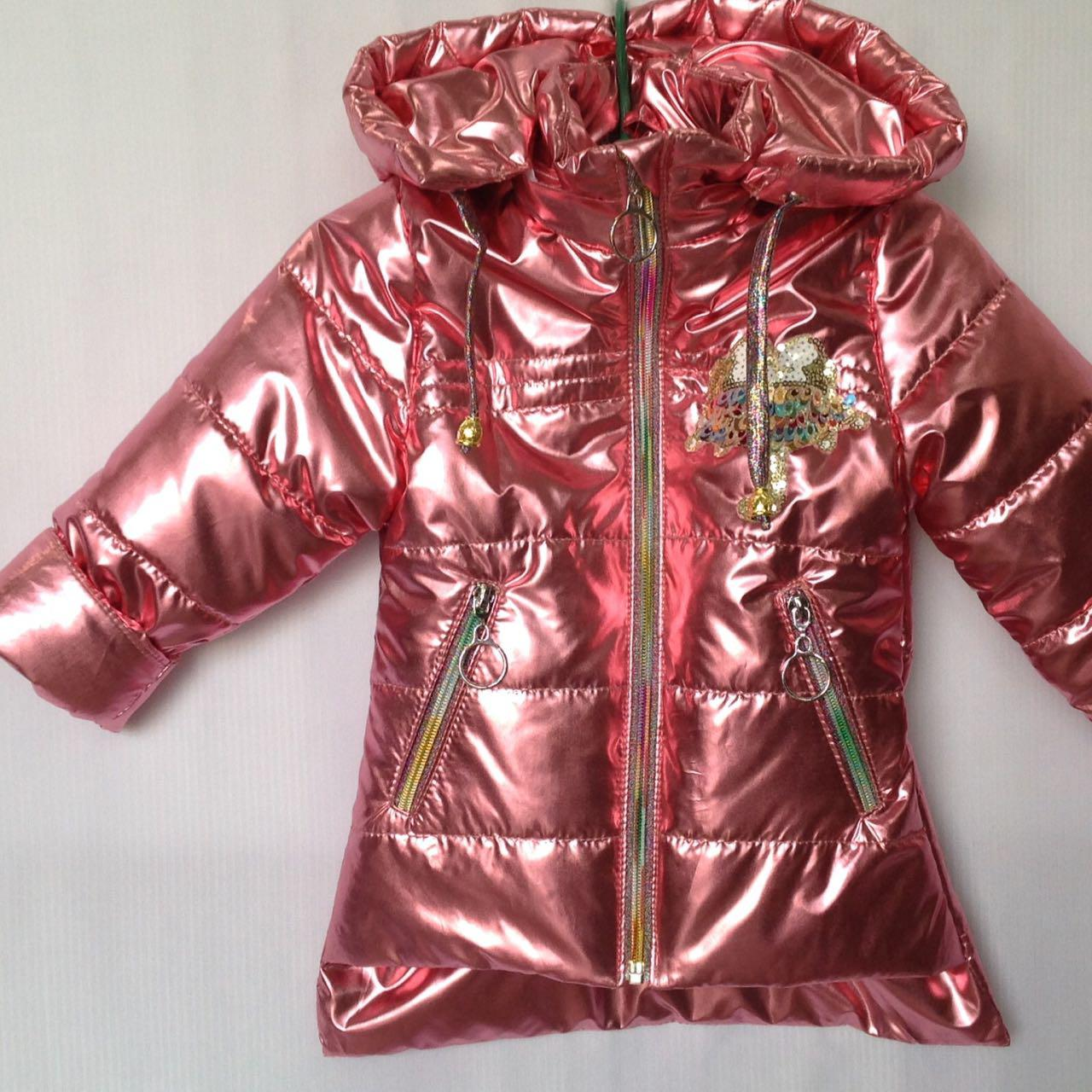 """Куртка детская демисезонная """"Popular"""" для девочек. 1-5 лет (86-110 см). Коралловая. Оптом."""