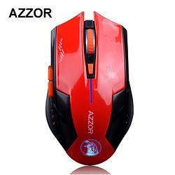 Беспроводная лазерная аккумуляторная игровая мышь Azzor. Красная.