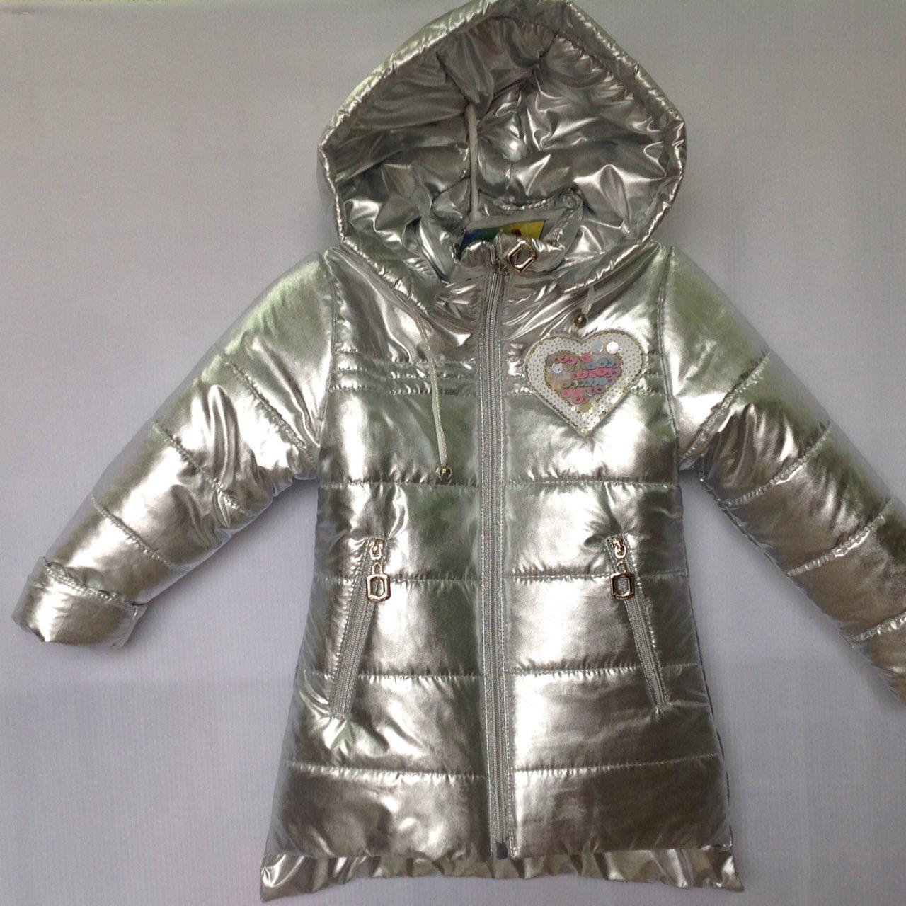 """Куртка детская демисезонная """"Popular"""" для девочек. 1-5 лет (86-110 см). Серебро. Оптом."""