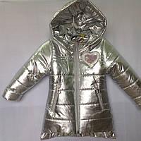 """Куртка детская демисезонная """"Popular"""" для девочек. 1-5 лет (86-110 см). Серебро. Оптом., фото 1"""