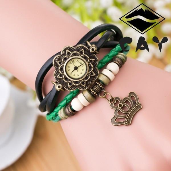 Часы-браслет с подвеской Корона зеленые