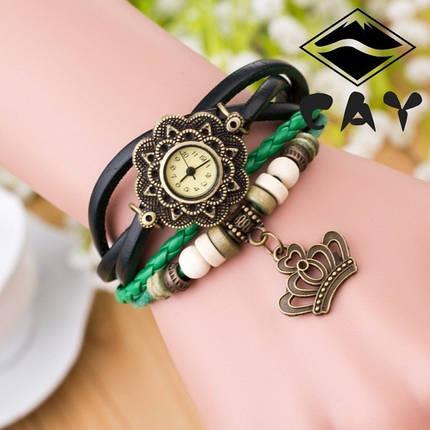 Часы-браслет с подвеской Корона зеленые, фото 2