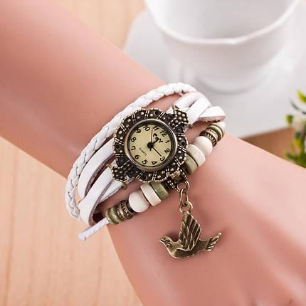Часы-браслет с подвеской Птица белые, фото 2