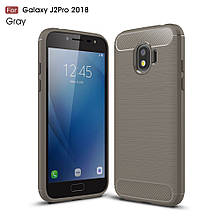 Чехол накладка TPU Fiber Carbon для Samsung J2 2018 J250 серый