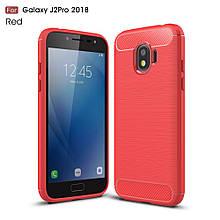 Чехол накладка TPU Fiber Carbon для Samsung J2 2018 J250 красный
