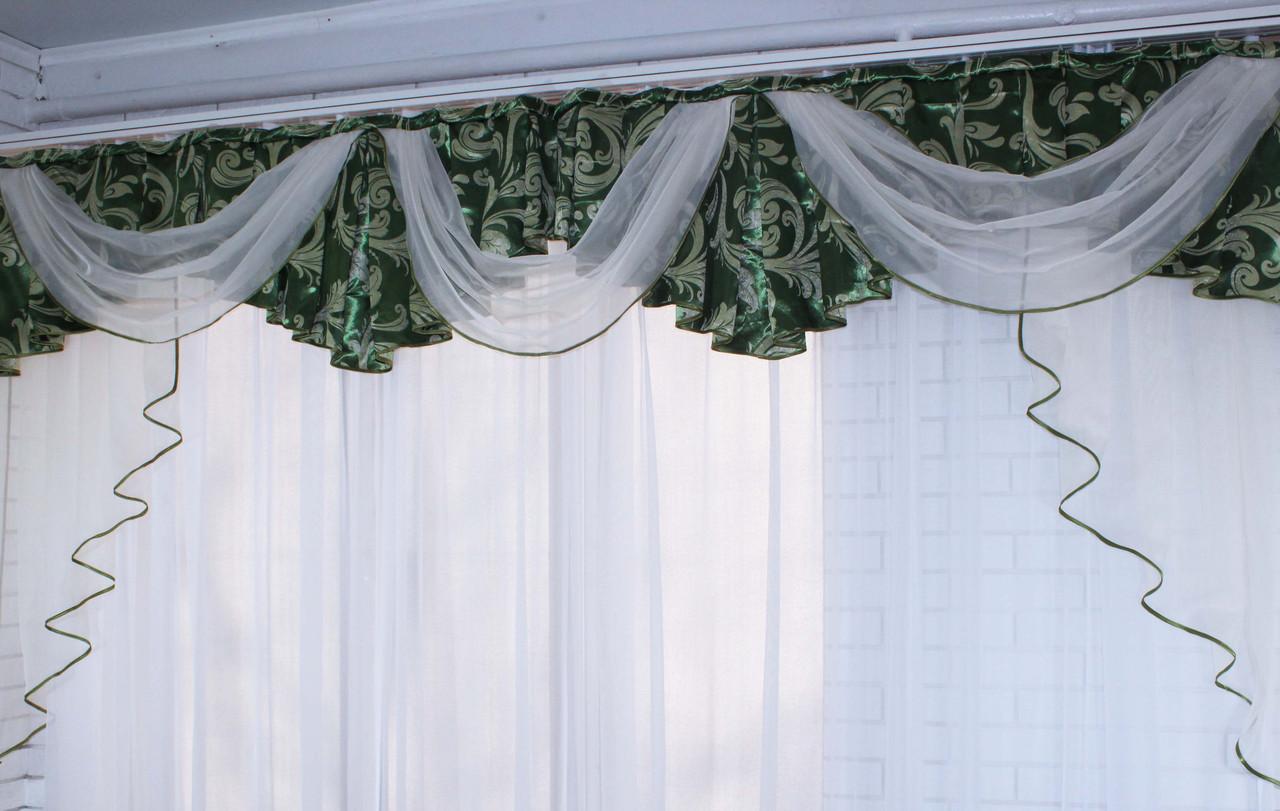 Ламбрекен из плотной ткани №68 Цвет зеленый. Код: 068л127 (А)