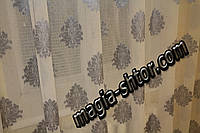 Тюль лен серый цветок, фото 1
