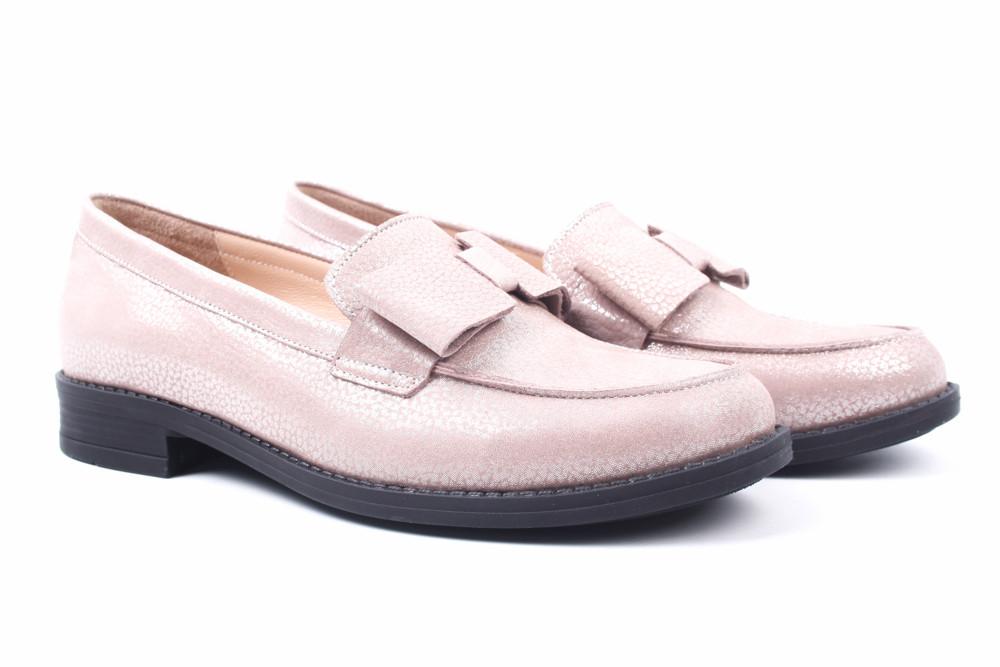 Туфли женские Estomod натуральная кожа, сатин, цвет визион перламутр (каблук, стильные, комфорт, Турция)