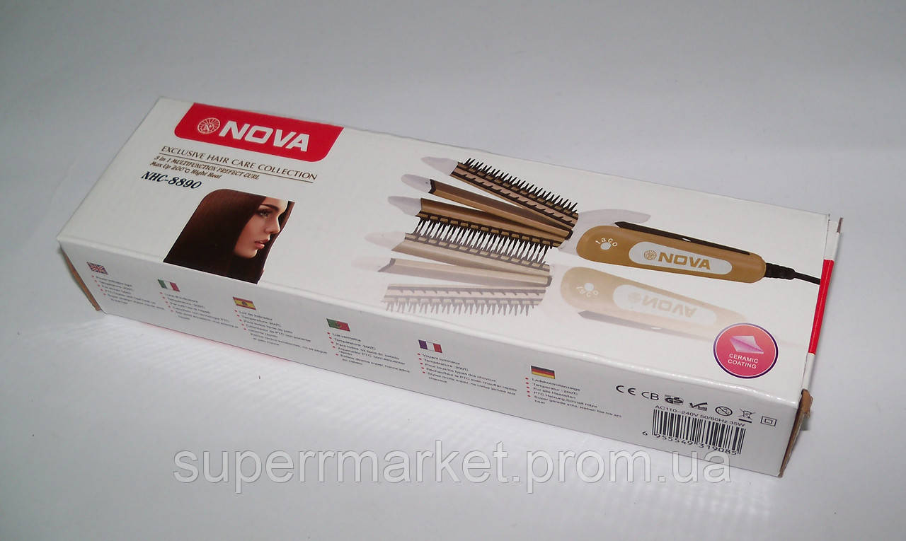 Плойка-утюжок-гофре с расческой для волос Nova NHC-8890 3в1, бежевый
