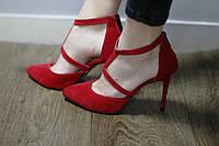 Очень cтильные женские туфли от TroisRois из натурального замша на ремешке