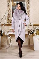 Женское зимнее пальто из кашемира с песцом 44-54р  светлая сирень