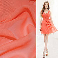 Шифон ткань однотонный кораллово оранжевый