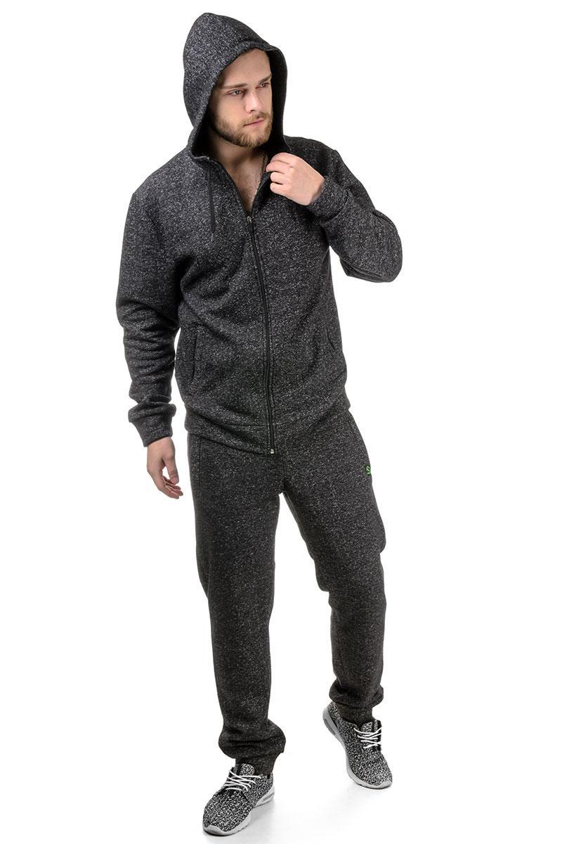 Мужской спортивный костюм на флисе 01 темно-серый