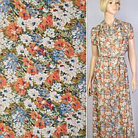 Креп ткань шифон в белые, оранжевые, голубые цветы ш.150