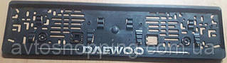 Рамка под номер с металлической надписью Daewoo (Део),  Рамка Черная