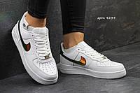 Кроссовки женские  белые c золотом Nike Air Force 4234