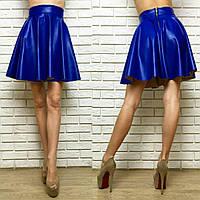 """Короткая кожаная юбка-клеш """"Diogen"""" с завышенной талией (3 цвета)"""