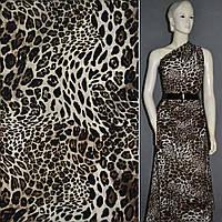 Хлопковая ткань молочный бежевый с черным леопард ш.150