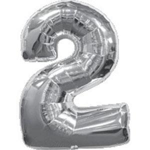 """Шар цифра """"2"""". Цвет:Серебро. Размер: 80см."""