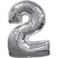 """Шар цифра """"2"""". Цвет:Серебро. Размер: 70см."""