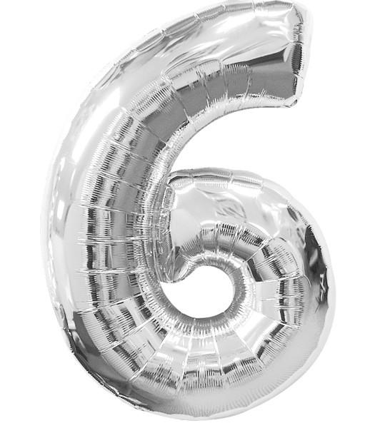 """Шар цифра """"6"""". Цвет:Серебро. Размер: 80см."""