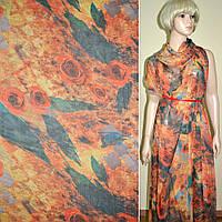Шифон ткань оранжево серый с розами фотопечать ш.140