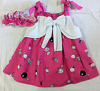 Платье розовое с белым бантом
