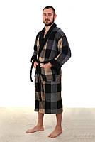 Мужской махровый длинный халат на запах Код НАТ 102