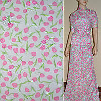 Шифон-орари кремовый с розовыми тюльпанами ш.150