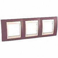 Рамка Schneider-Electric Unica Plus 3-поста лиловый / сл. кость MGU6.006.576