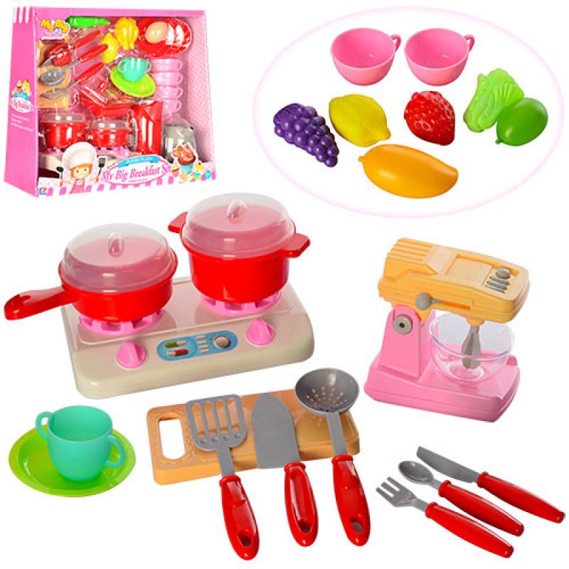 063c583055083 Детский Игровой набор кухонной бытовой техники, плита, посуда, продукты, 2  вида,